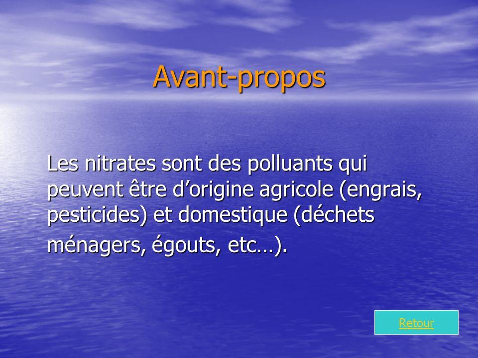 Avant-propos Les nitrates sont des polluants qui peuvent être dorigine agricole (engrais, pesticides) et domestique (déchets ménagers, égouts, etc…).