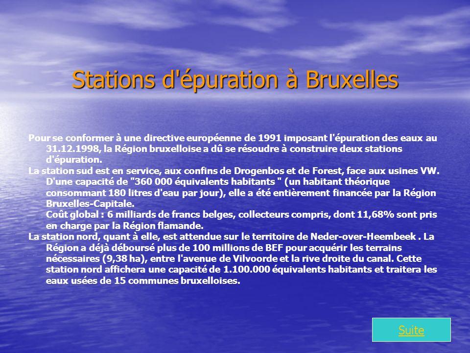 Stations d épuration à Bruxelles Pour se conformer à une directive européenne de 1991 imposant l épuration des eaux au 31.12.1998, la Région bruxelloise a dû se résoudre à construire deux stations d épuration.