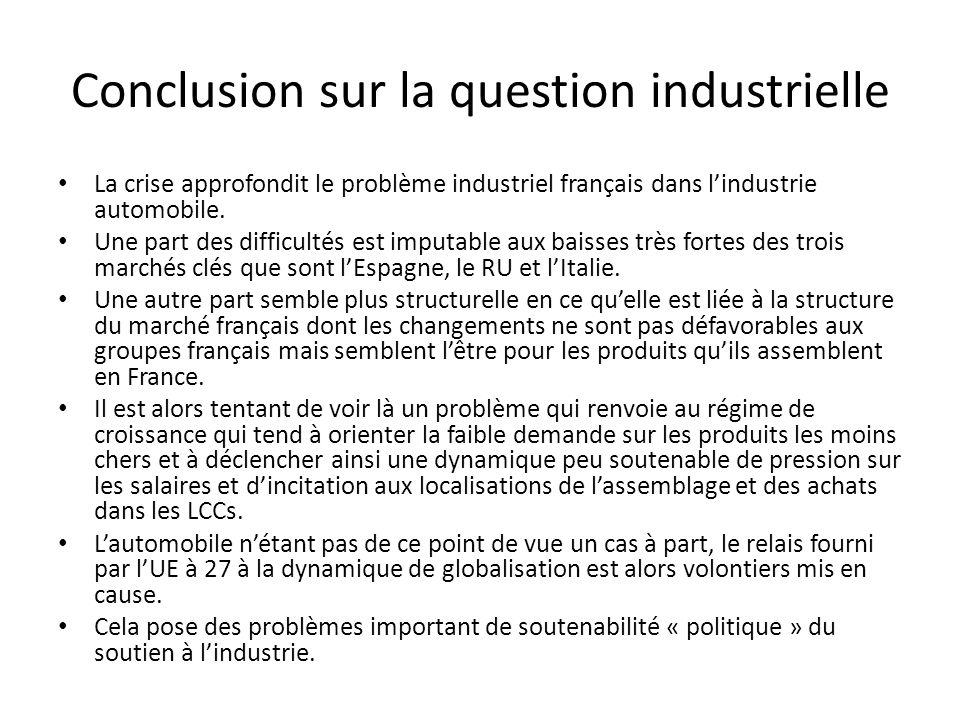 Conclusion sur la question industrielle La crise approfondit le problème industriel français dans lindustrie automobile.