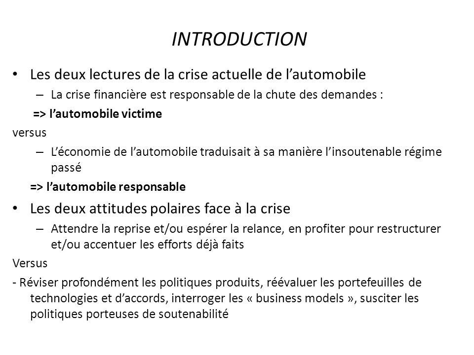 1/ Analyse générale : conclusion La crise de lindustrie automobile révèle linsoutenabilité du régime passé.