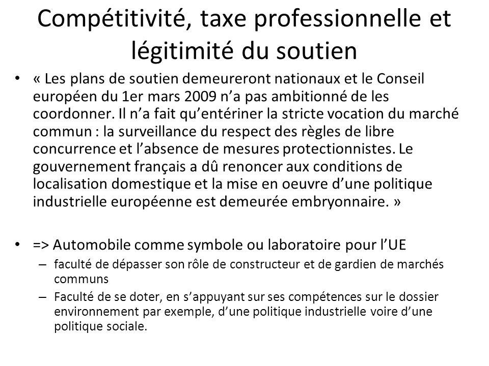 Compétitivité, taxe professionnelle et légitimité du soutien « Les plans de soutien demeureront nationaux et le Conseil européen du 1er mars 2009 na pas ambitionné de les coordonner.
