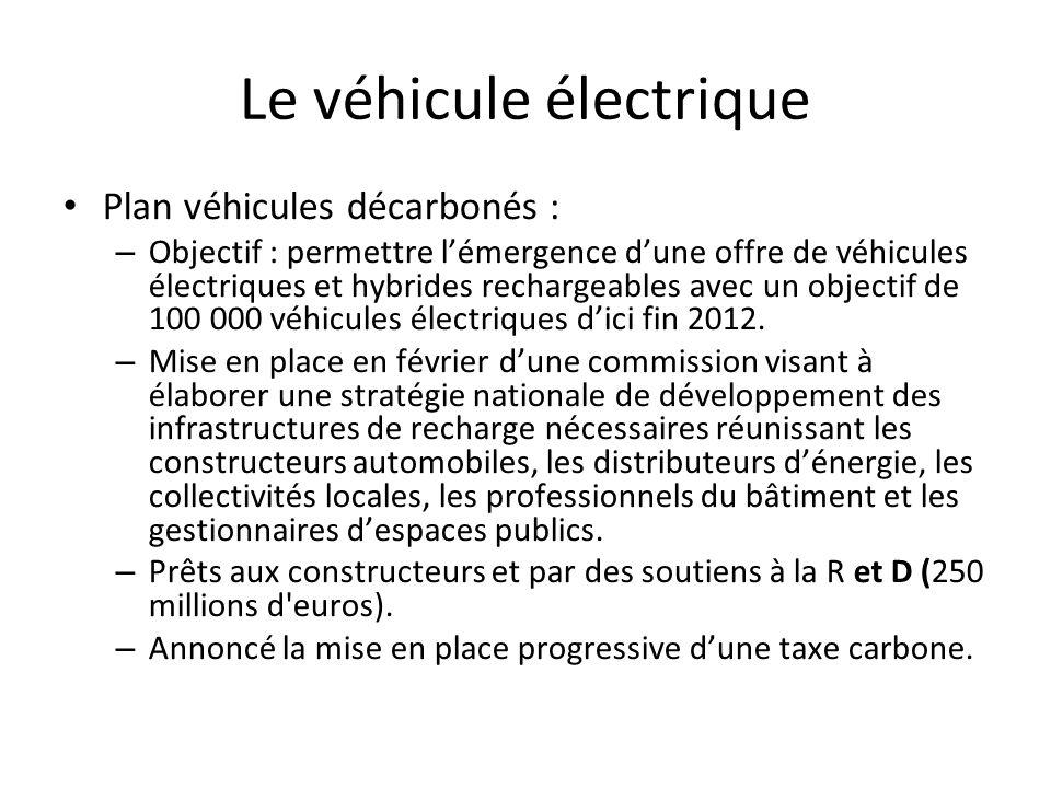 Le véhicule électrique Plan véhicules décarbonés : – Objectif : permettre lémergence dune offre de véhicules électriques et hybrides rechargeables avec un objectif de 100 000 véhicules électriques dici fin 2012.