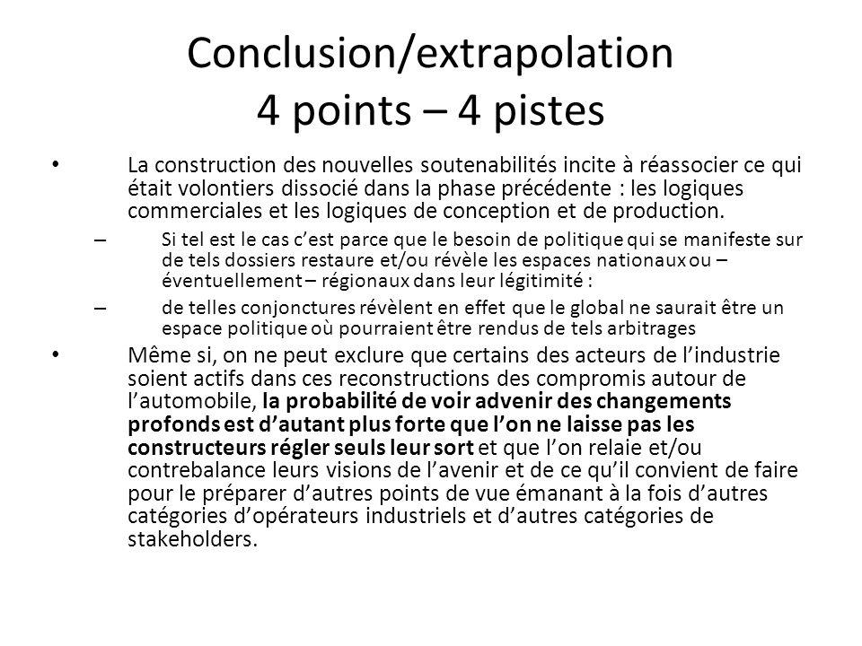 Conclusion/extrapolation 4 points – 4 pistes La construction des nouvelles soutenabilités incite à réassocier ce qui était volontiers dissocié dans la phase précédente : les logiques commerciales et les logiques de conception et de production.