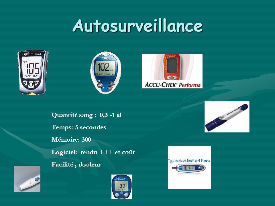 Autosurveillance Quantité sang : 0,3 -1 µl Temps: 5 secondes Mémoire: 300 Logiciel: rendu +++ et coût Facilité, douleur