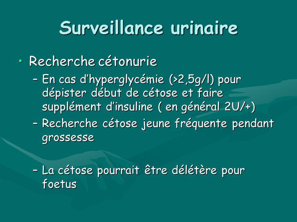 Surveillance urinaire Recherche cétonurieRecherche cétonurie –En cas dhyperglycémie (>2,5g/l) pour dépister début de cétose et faire supplément dinsul