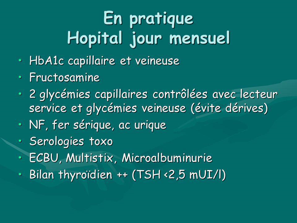 En pratique Hopital jour mensuel HbA1c capillaire et veineuseHbA1c capillaire et veineuse FructosamineFructosamine 2 glycémies capillaires contrôlées