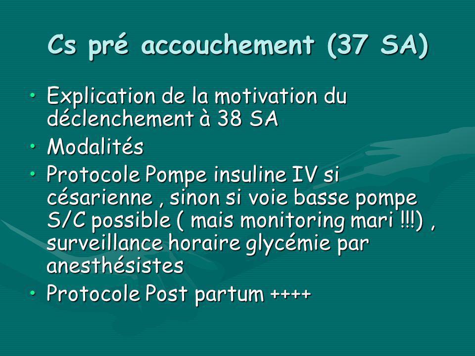 Cs pré accouchement (37 SA) Explication de la motivation du déclenchement à 38 SAExplication de la motivation du déclenchement à 38 SA ModalitésModali
