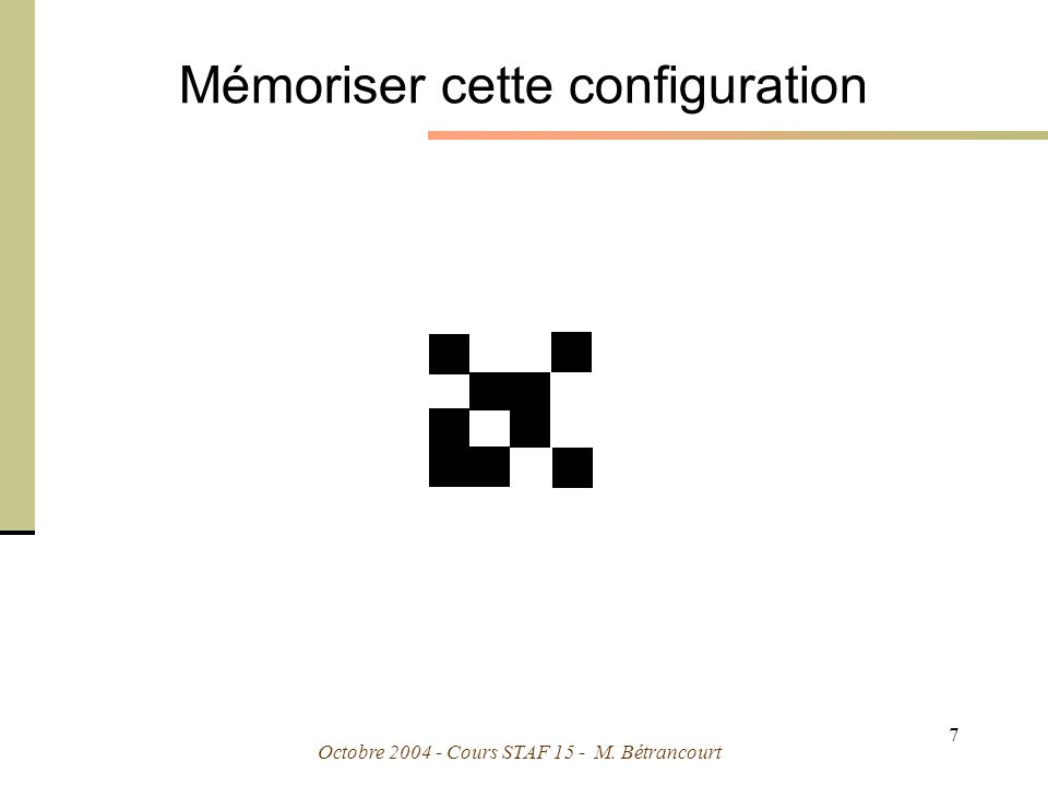 Octobre 2004 - Cours STAF 15 - M. Bétrancourt 38 Lintégration spatiale Format escamot
