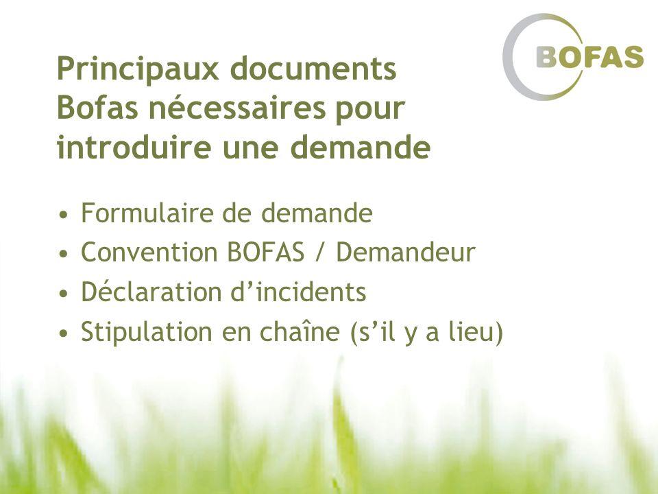 Principaux documents Bofas nécessaires pour introduire une demande Formulaire de demande Convention BOFAS / Demandeur Déclaration dincidents Stipulati