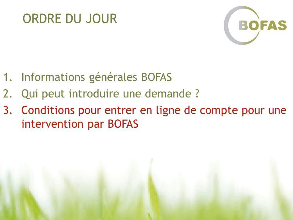 ORDRE DU JOUR 1.Informations générales BOFAS 2.Qui peut introduire une demande ? 3.Conditions pour entrer en ligne de compte pour une intervention par