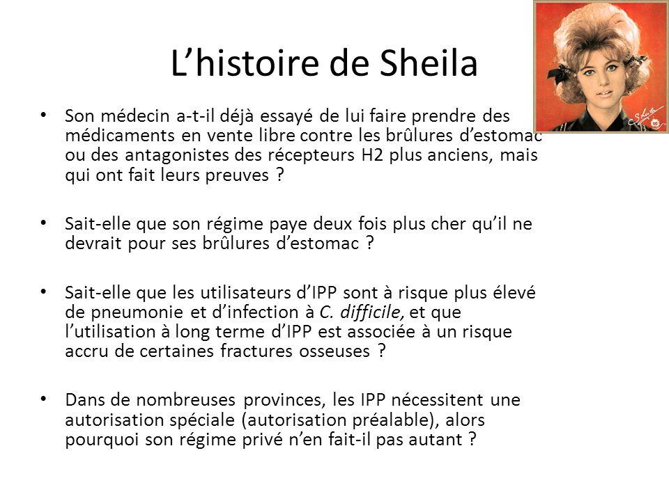 Lhistoire de Sheila Son médecin a-t-il déjà essayé de lui faire prendre des médicaments en vente libre contre les brûlures destomac ou des antagonistes des récepteurs H2 plus anciens, mais qui ont fait leurs preuves .
