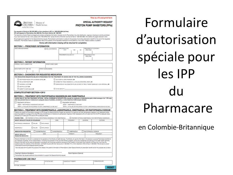 Formulaire dautorisation spéciale pour les IPP du Pharmacare en Colombie-Britannique