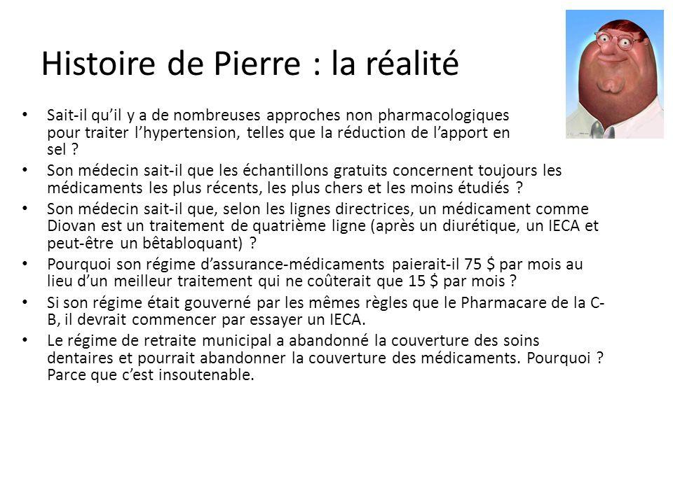 Histoire de Pierre : la réalité Sait-il quil y a de nombreuses approches non pharmacologiques pour traiter lhypertension, telles que la réduction de lapport en sel .