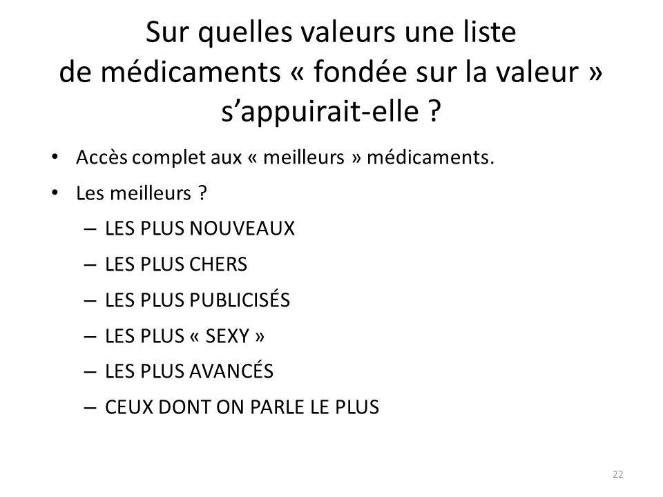 Sur quelles valeurs une liste de médicaments « fondée sur la valeur » sappuirait-elle .