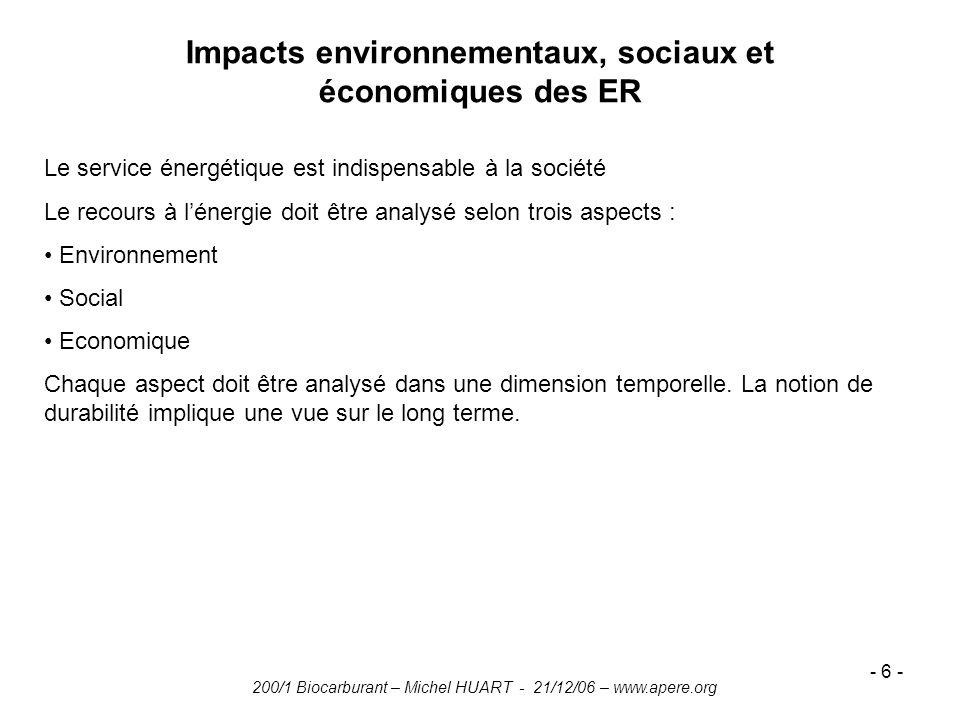 200/1 Biocarburant – Michel HUART - 21/12/06 – www.apere.org - 6 - Impacts environnementaux, sociaux et économiques des ER Le service énergétique est