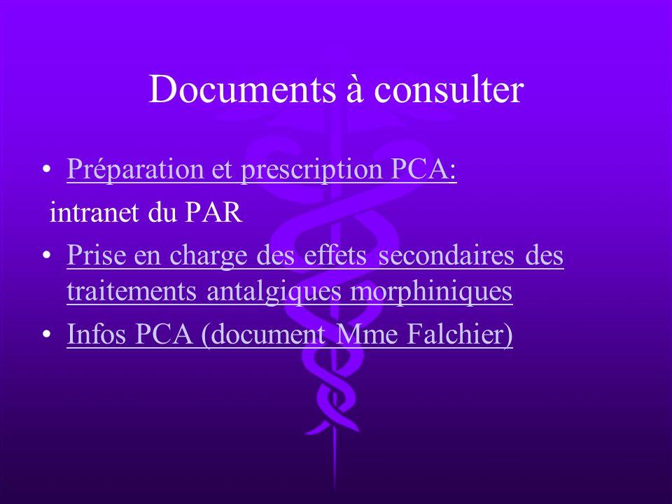 Documents à consulter Préparation et prescription PCA:Préparation et prescription PCA intranet du PAR Prise en charge des effets secondaires des trait