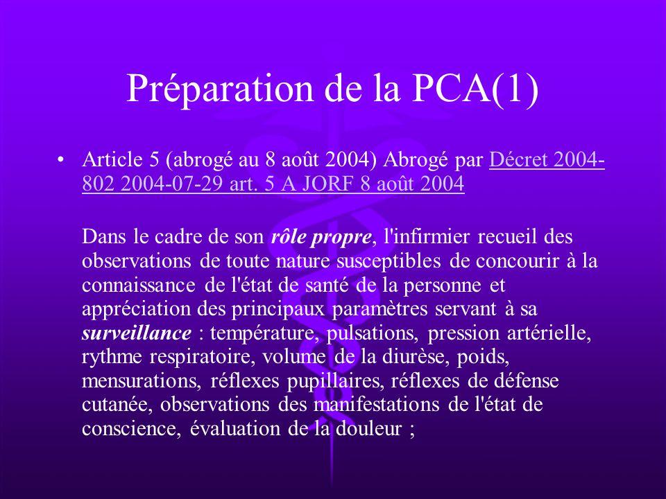 Préparation de la PCA(1) Article 5 (abrogé au 8 août 2004) Abrogé par Décret 2004- 802 2004-07-29 art. 5 A JORF 8 août 2004Décret 2004- 802 2004-07-29
