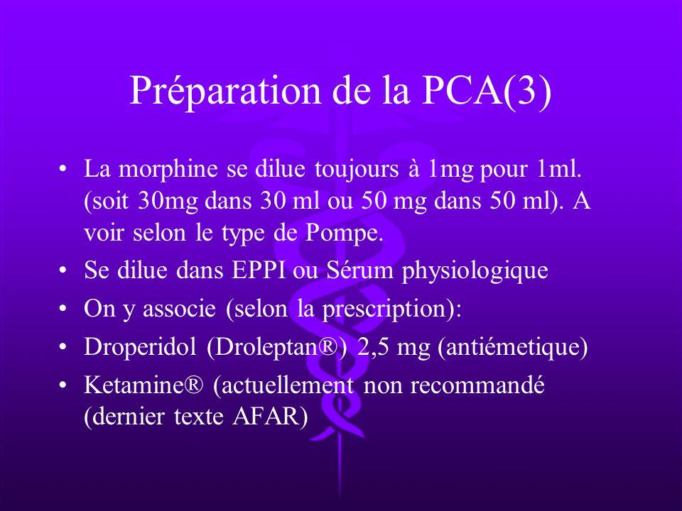 Préparation de la PCA(3) La morphine se dilue toujours à 1mg pour 1ml. (soit 30mg dans 30 ml ou 50 mg dans 50 ml). A voir selon le type de Pompe. Se d