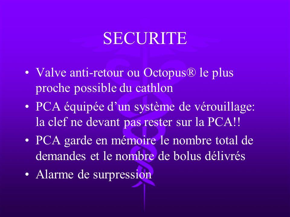 SECURITE Valve anti-retour ou Octopus® le plus proche possible du cathlon PCA équipée dun système de vérouillage: la clef ne devant pas rester sur la