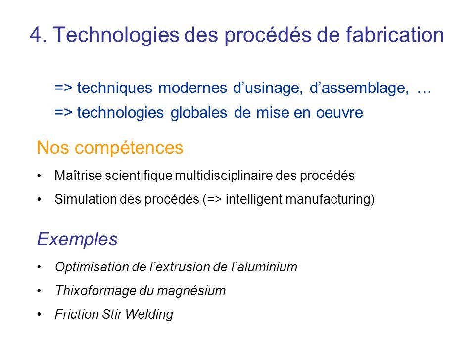 4. Technologies des procédés de fabrication Nos compétences Maîtrise scientifique multidisciplinaire des procédés Simulation des procédés (=> intellig