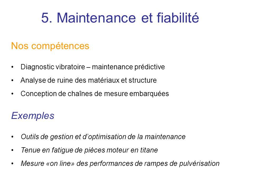 Nos compétences Diagnostic vibratoire – maintenance prédictive Analyse de ruine des matériaux et structure Conception de chaînes de mesure embarquées