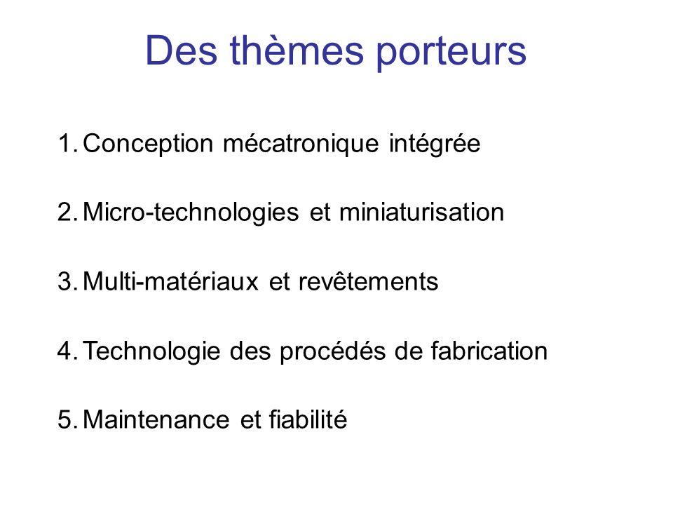 1.Conception mécatronique intégrée 2.Micro-technologies et miniaturisation 3.Multi-matériaux et revêtements 4.Technologie des procédés de fabrication