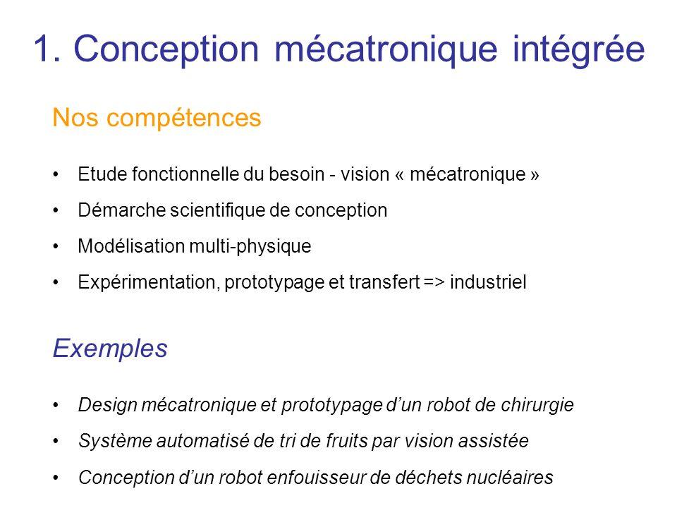 1. Conception mécatronique intégrée Nos compétences Etude fonctionnelle du besoin - vision « mécatronique » Démarche scientifique de conception Modéli