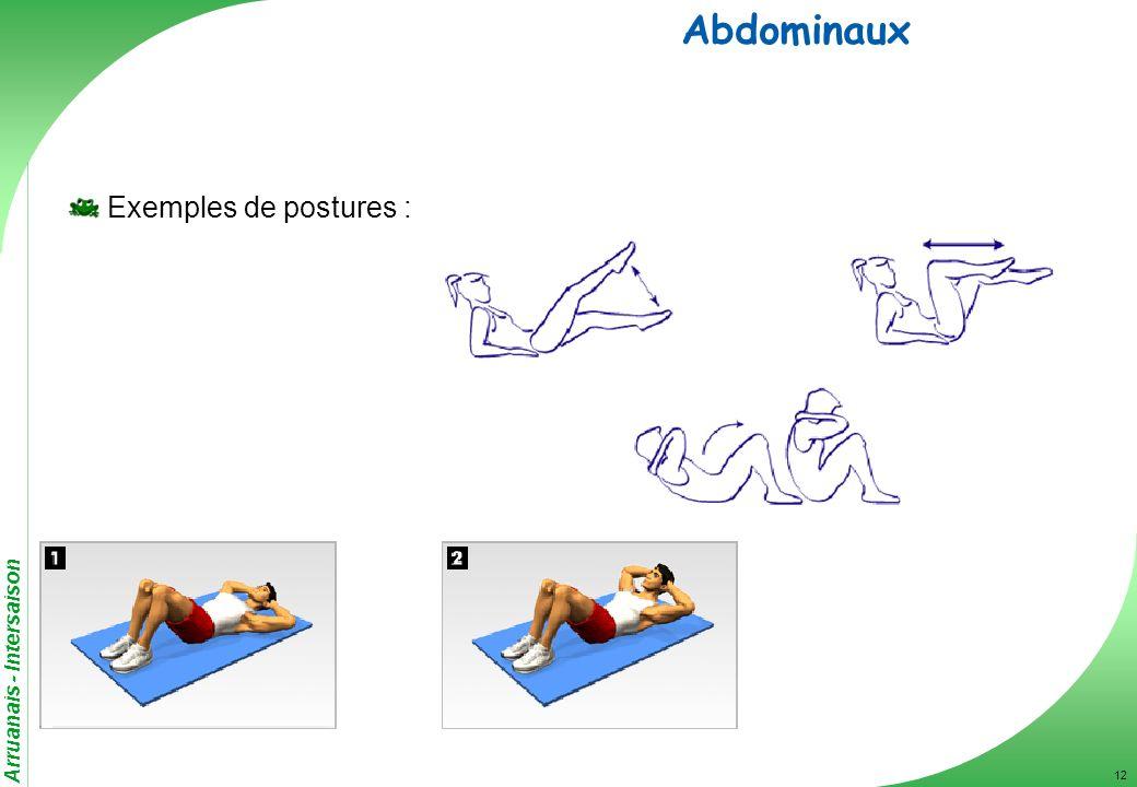 Arruanais - Intersaison 12 Abdominaux Exemples de postures :