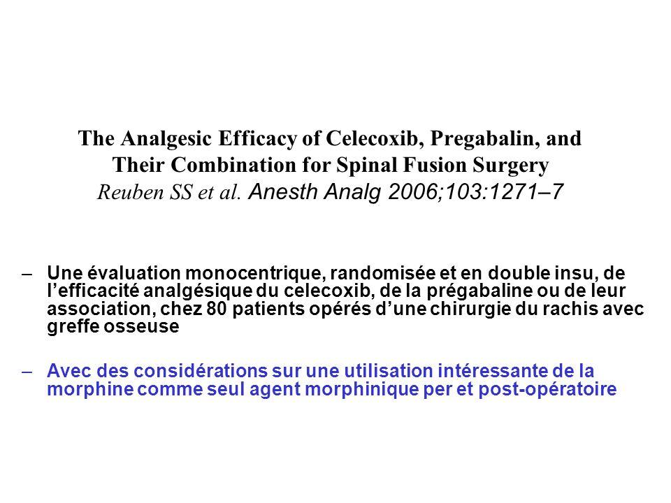 celecoxib, prégabaline ou les 2, en chirurgie du rachis avec greffon osseux Résultats (7) Tableau 1.