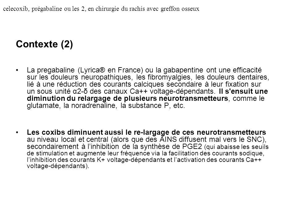 celecoxib, prégabaline ou les 2, en chirurgie du rachis avec greffon osseux Contexte (2) La pregabaline (Lyrica® en France) ou la gabapentine ont une efficacité sur les douleurs neuropathiques, les fibromyalgies, les douleurs dentaires, lié à une réduction des courants calciques secondaire à leur fixation sur un sous unité α2-δ des canaux Ca++ voltage-dépendants.