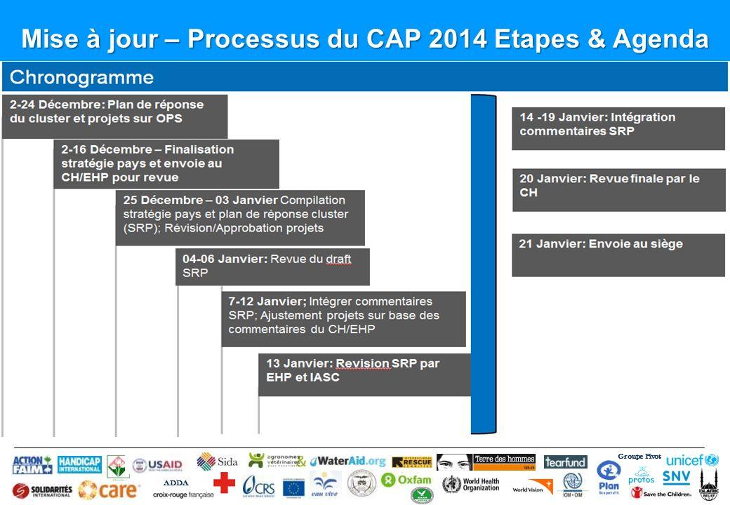 Groupe Pivot ADDA Mise à jour – Processus du CAP 2014 Etapes & Agenda