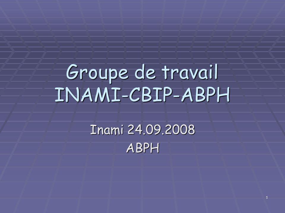 1 Groupe de travail INAMI-CBIP-ABPH Inami 24.09.2008 ABPH