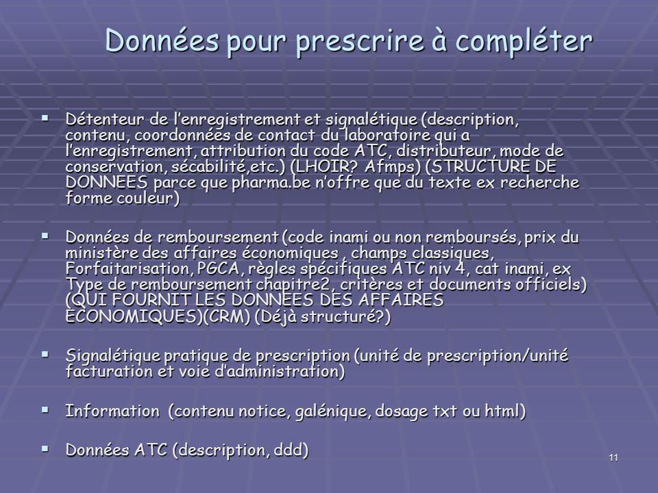 11 Données pour prescrire à compléter Détenteur de lenregistrement et signalétique (description, contenu, coordonnées de contact du laboratoire qui a