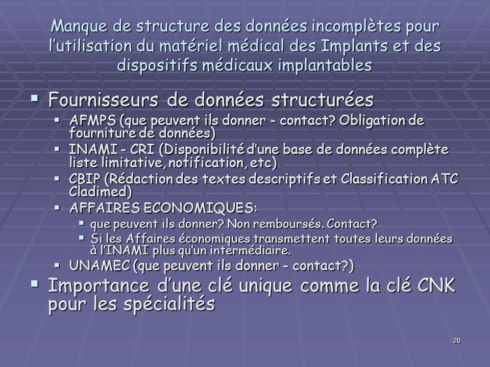 20 Manque de structure des données incomplètes pour lutilisation du matériel médical des Implants et des dispositifs médicaux implantables Fournisseur