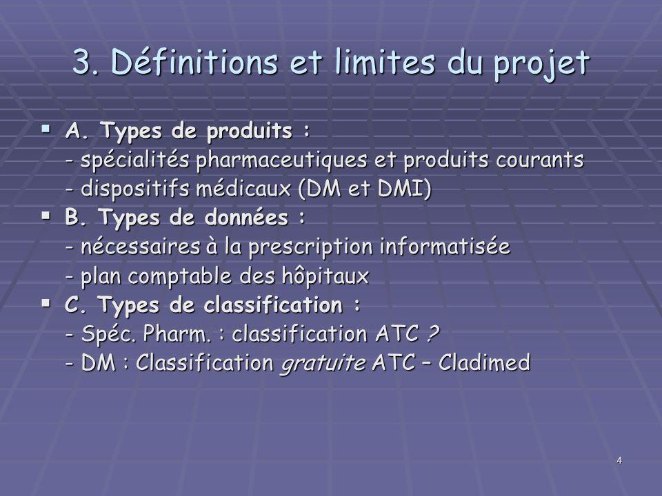4 3. Définitions et limites du projet A. Types de produits : A. Types de produits : - spécialités pharmaceutiques et produits courants - dispositifs m