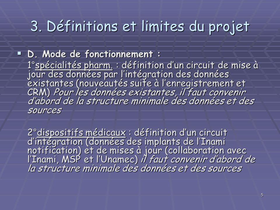 5 3. Définitions et limites du projet D. Mode de fonctionnement : D. Mode de fonctionnement : 1°spécialités pharm. : définition dun circuit de mise à