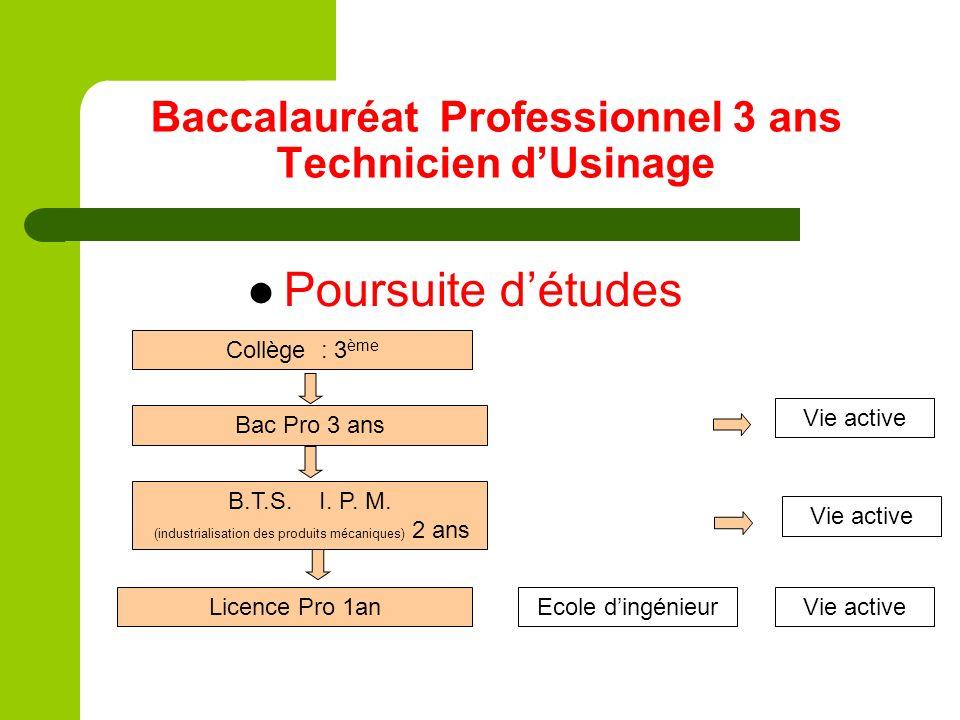 Baccalauréat Professionnel 3 ans Technicien dUsinage Poursuite détudes Bac Pro 3 ans Collège : 3 ème B.T.S. I. P. M. (industrialisation des produits m