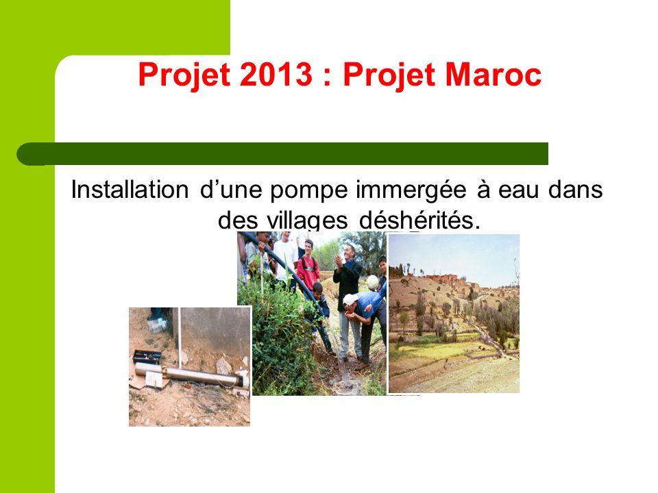 Projet 2013 : Projet Maroc Installation dune pompe immergée à eau dans des villages déshérités.