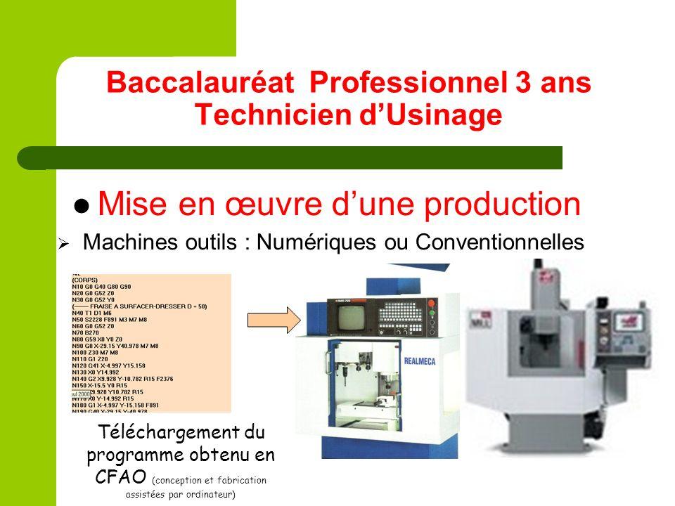 Baccalauréat Professionnel 3 ans Technicien dUsinage Mise en œuvre dune production Machines outils : Numériques ou Conventionnelles Téléchargement du