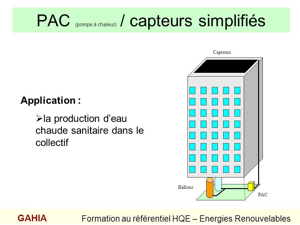 PAC (pompe à chaleur) / capteurs simplifiés GAHIA Formation au référentiel HQE – Energies Renouvelables Application : la production deau chaude sanita