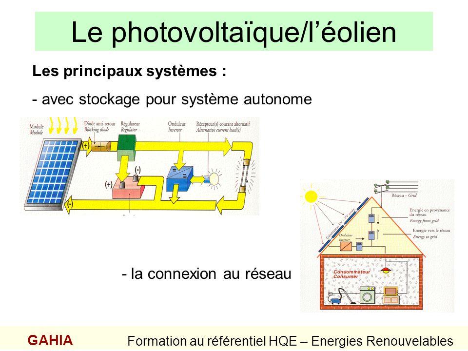 Le photovoltaïque/léolien GAHIA Formation au référentiel HQE – Energies Renouvelables Les principaux systèmes : - avec stockage pour système autonome