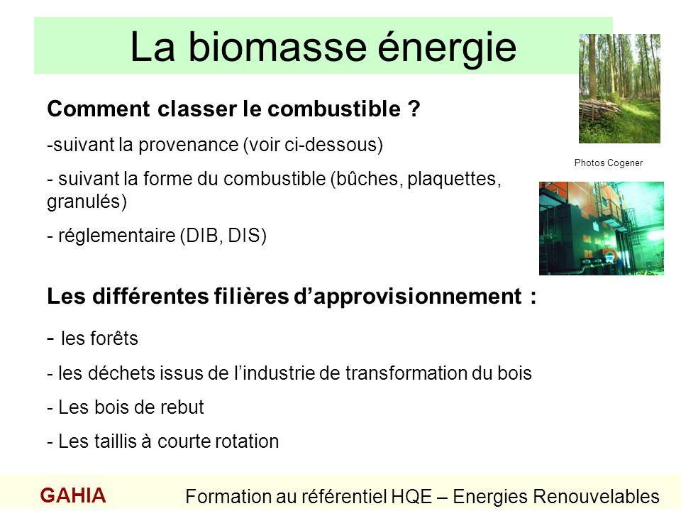 La biomasse énergie GAHIA Formation au référentiel HQE – Energies Renouvelables Les différentes filières dapprovisionnement : - les forêts - les déche