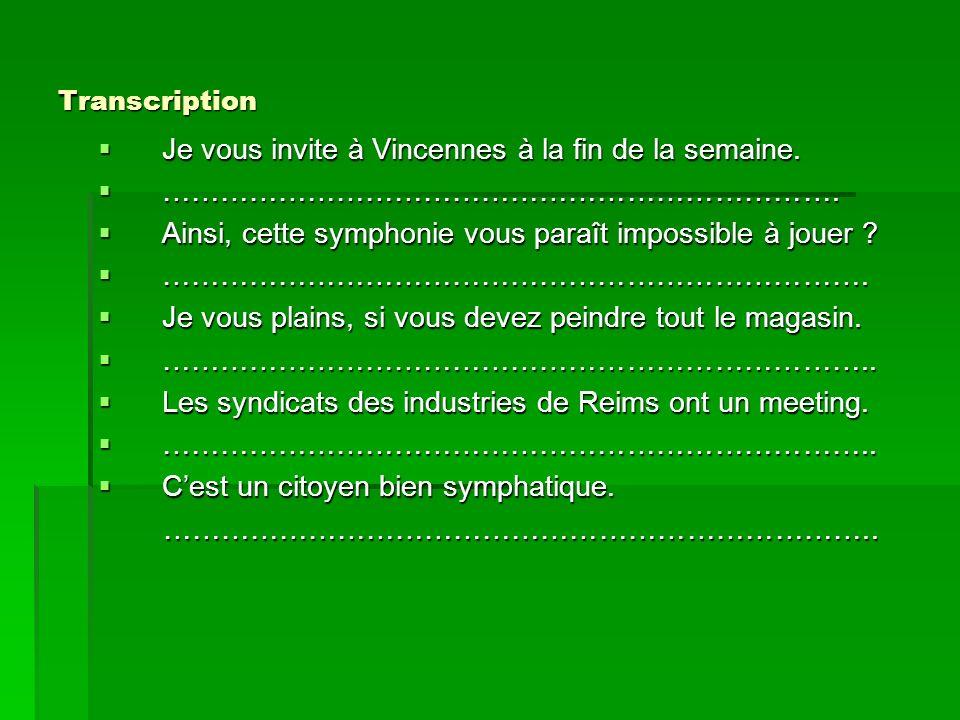 Transcription Je vous invite à Vincennes à la fin de la semaine. Je vous invite à Vincennes à la fin de la semaine. ……………………………………………………………. ………………………