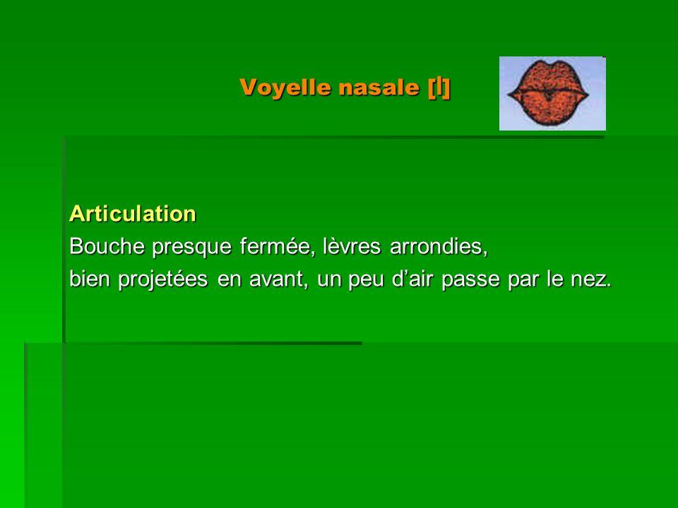 Voyelle nasale [ I ] Articulation Bouche presque fermée, lèvres arrondies, bien projetées en avant, un peu dair passe par le nez.