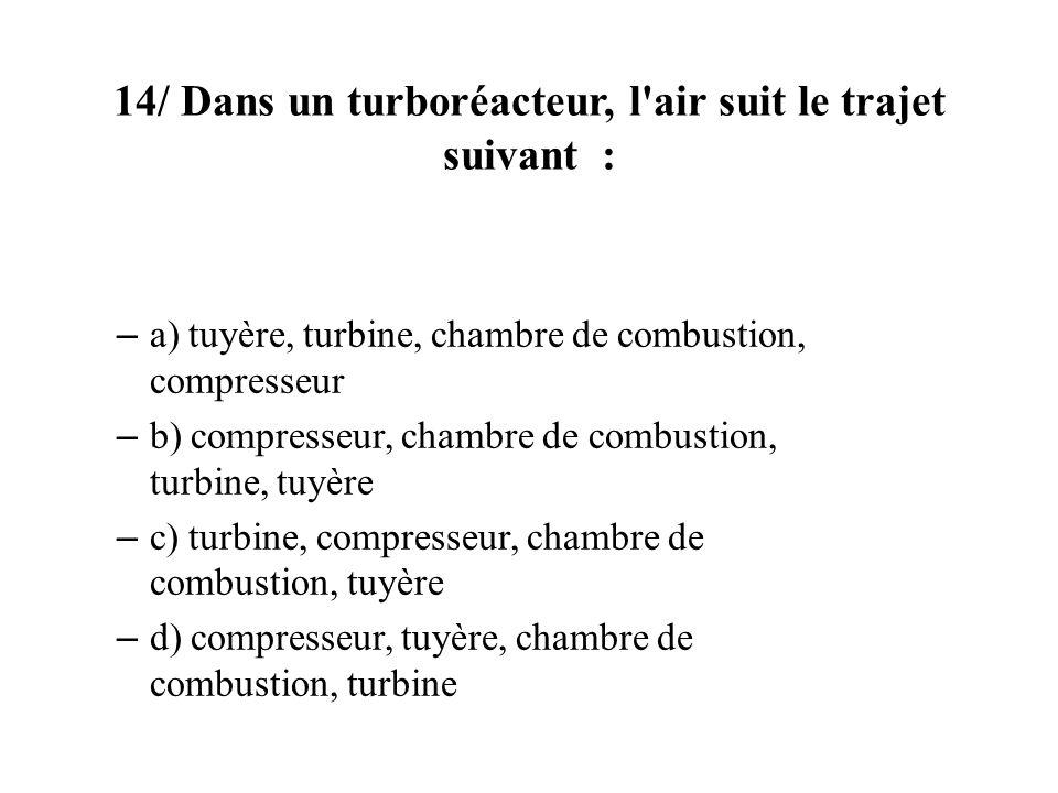 14/ Dans un turboréacteur, l'air suit le trajet suivant : – a) tuyère, turbine, chambre de combustion, compresseur – b) compresseur, chambre de combus