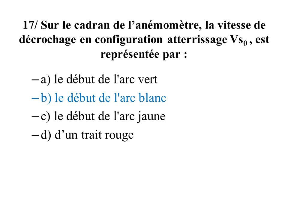 17/ Sur le cadran de lanémomètre, la vitesse de décrochage en configuration atterrissage Vs 0, est représentée par : – a) le début de l'arc vert – b)
