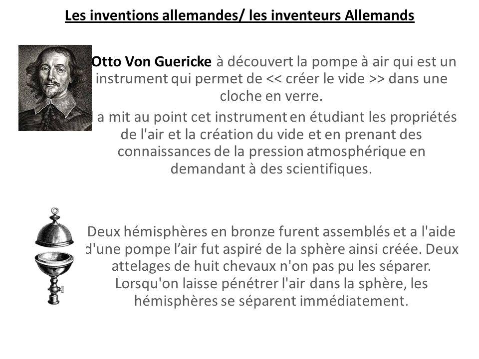 -Otto Von Guericke à découvert la pompe à air qui est un instrument qui permet de > dans une cloche en verre.