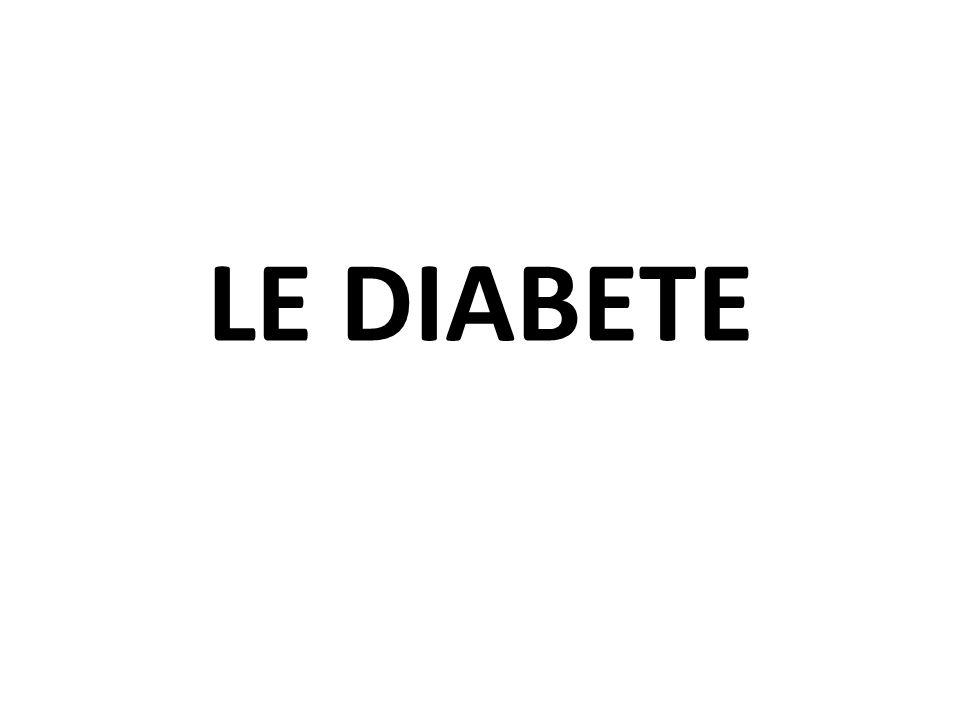 TRAITEMENT DE LHYPOGLYCEMIE 15 g de glucose sous forme de tablettes ½ ou 3/4 de tasse de jus 3 sachets de sucre dissous dans de leau 6 bonbons Life Savers 15 cc de miel 1 mg de glucagon IM ou SC Une ampoule de dextrose NB: - un kit de glucagon peut être prescrit pour les personnes à risque dhypoglycémie sévère - Leffet Somogyi: hyperglycémie rebond (post hypoglycémie)