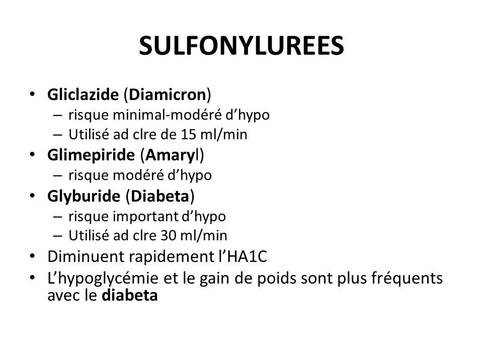 SULFONYLUREES Gliclazide (Diamicron) – risque minimal-modéré dhypo – Utilisé ad clre de 15 ml/min Glimepiride (Amaryl) – risque modéré dhypo Glyburide