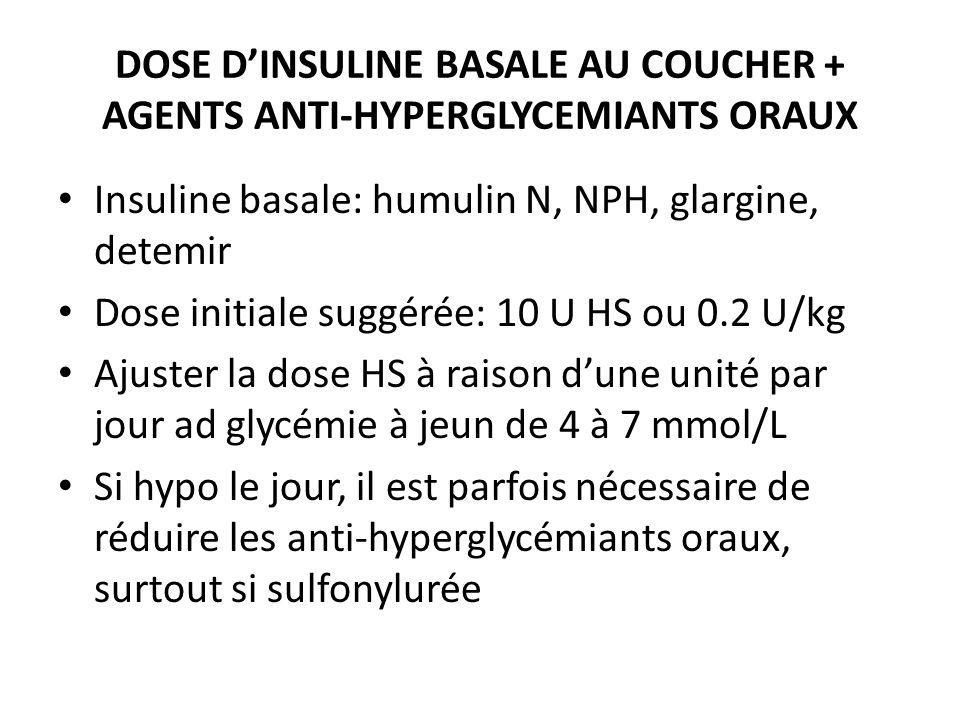Insuline basale: humulin N, NPH, glargine, detemir Dose initiale suggérée: 10 U HS ou 0.2 U/kg Ajuster la dose HS à raison dune unité par jour ad glyc